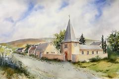 La petite église au milieu du village. (Demars Philippe) Tags: aquarelle demars chariot paysage village chemin église gaume