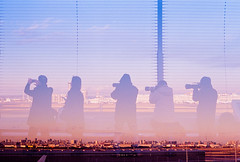 The Photographers (Hayden_Williams) Tags: sunset sun dusk pink colorful sky clouds silhouette shadow person people group photographers photographer hanedaairport observatory airport japan tokyo travel asia doubleexposure multipleexposure dream dreamy film analog analogue canonae1 fd50mmf18 kodak po