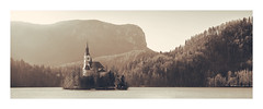 Lake Bled (icypics) Tags: church forest lakebled landscape haze hills pano slovenia water