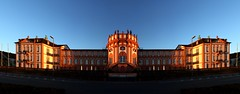 IMG_5819_stitch (AndyMc87) Tags: wiesbaden biebrich schloss sunset stitch colourful mirror castle palace clear sky blue canon eos 6d 1740 l ilumination iluminated hessen city