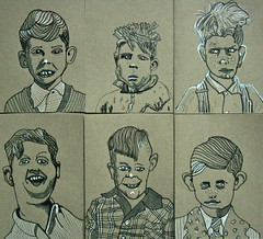 some old-fashioned portraits of boys (josephina54) Tags: portraits boy blackandwhite coloredpaper drawings vintageimage ink pen
