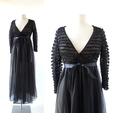 1960s sheer black nylon negligee with ruffled lace, from Flair Lingerie (Small Earth Vintage) Tags: smallearthvintage vintageclothing vintagefashion negligee peignoir 1960s 60s black sheer nylon robe dressinggown lace ruffles flairlingerie