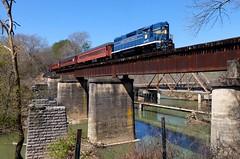 TAG 80 over Chickamauga Creek - Wide (H-bob-omb) Tags: tennessee valley railroad museum tvrm alabama georgia railway tag emd gp38 locomotive 80 chattanooga chickamauga creek bridge