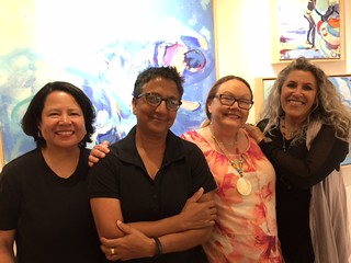 Gallery owner Gail Williams with artist Jacqueline Gopie, Gallery director Roben Stieglitz and artist Lisa Remany at the Williams McCall gallery in the Grove