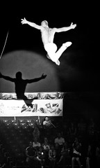 2013. Lviv. Ukraine (bobobahmat) Tags: bnw bw black white n monochrome mono man circus performer performance people danger artist art gymnastic gymnastics top big courage