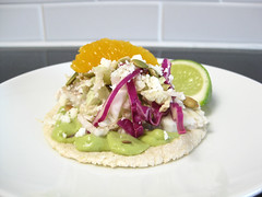 Citrus-Glazed Barramundi Fish Tacos with Avocado-Serrano Crema, Toasted Cumin Pepitas and Bicolor Slaw (a sage amalgam (heather sage)) Tags: summer orange fish recipe avocado corn homemade cabbage seafood citrus lime serrano barramundi pepita glutenfree pumpkinseed heathersage sponsoredpost