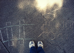 052 february 21, 2013 (mrbosslady) Tags: feet train chalk shoes sidewalk whereistand