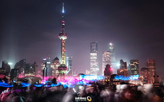 This City Is Alive (Shanghai) (Andy Brandl (PhotonMix)) Tags: china longexposure urban skyline modern night energy cityscape skyscrapers shanghai crowd led future streaks orientalpearltower incidentalpeople photonmix laoanphotography