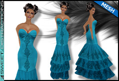 Mesh Tiered Lace Mermaid Gown in Teal Blue (Sweet Distractions) Tags: life mesh sweet lace sl bridesmaid second gown mermaid rigged distractions