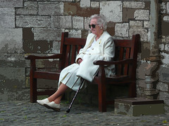 Lady in White (Durley Beachbum) Tags: stone wall lady bench seat mature elegant