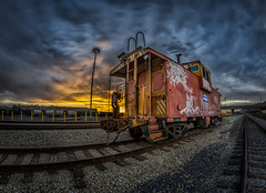 """Week 25 of 52 Theme: """"Cars"""" Caboose Rail car at sunset - HDR (sumoetx) Tags: city sunset sky urban cars car metal train nikon iron downtown shot pacific release tripod union rusty dramatic rail railway trains cable caboose fisheye saltlakecity saltlake lucky manual roadside 8mm hdr railcars blend relic urbex benro rokinon d7000 d7000hdr hdrwithd7000 lptg13wk25"""