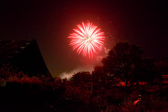Local Fireworks (stephencurtin) Tags: california trees red usa field grass night barn oak glow tank fireworks placerville yesterday propane flickrfriday thechallengefactory