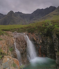 Sgurr An Fheadain and a Fairy Pool. (Gordie Broon.) Tags: summer mountains nature water clouds landscape geotagged scotland waterfall scenery isleofskye alba scenic july escocia hills cuillins schottland ecosse scozia glenbrittle westernhighlands fairypools 24105l 2013 northwestscotland sgurranfheadain alltcoiramhadaidh gordiebroonphotography canon5dmklll haida10stop