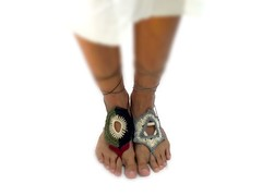 Crochet Palestine and Israel barefoot Sandals (AmorArt crochet jewelry) Tags: david yoga nude foot star israel shoes peace message sandals palestine crochet jewelry barefoot anklet sandles sandale gemstonejewelry amorart
