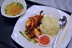 bbq chicken rice in transit (Ian Riley [on the right side of the fence]) Tags: food chicken soup airport singapore asia chili rice sauce cucumber chinese bbq transit southeast changi