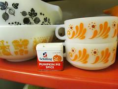 Vintage Schilling Pumpkin Pie Spice tin (AquaOwl) Tags: orange black vintage pumpkin tin spice gooseberry schilling pyrex glasbake butterprint