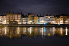reflexions (ironpoison) Tags: old city urban water architecture night buildings river dark lights cityscape lyon reflexion rhone