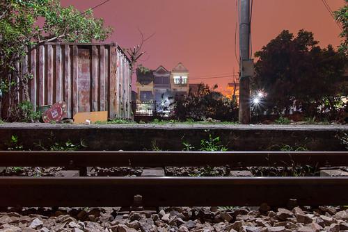 Rails at night