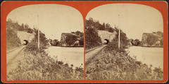 Tunnel and split on canal 1 mile above La Salle (Boston Public Library) Tags: canals bostonpubliclibrary railroadtracks bpl stereographs photographicprints