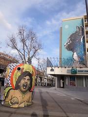 by ??? and C215 (tofz4u) Tags: streetart paris pasteup collage cat stencil chat bank container bnp poubelle pochoir artderue banque 75013 c215