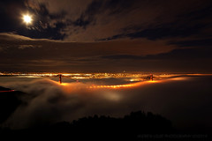 Moonlight Romance (Andrew Louie Photography) Tags: bridge light moon fog golden gate san francisco