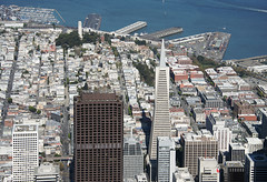 Aerial view of the Transamerica Pyramid and Coit Tower, San Francisco, California (cocoi_m) Tags: sanfrancisco california zeppelin coittower sanfranciscobay pier39 transamericapyramid aerialphotograph sanfranciscocounty airshipventures vision:text=0559 vision:outdoor=0976