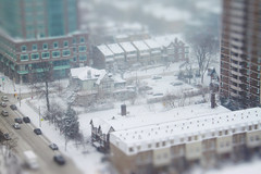 Toy-ronto on a Snowy Day in March (Katrin Ray) Tags: white snow toronto ontario canada canon march spring day snowfall winterwonderland toyland tiltshift canonphotography tilfshift tiltshift12 dreamscapesoftoronto katrinray miniaturestyle digimagic toyrontolife jarvismansiondistrict buildin1875 thewill