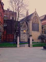 London / Church [instant] (DANIEL COULMANN) Tags: city light england urban color building london church lamp architecture fence garden daylight colorful day unitedkingdom availablelight gb iphone iphoneography