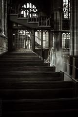 (Manadh) Tags: england woman blur church window girl dark pentax derbyshire fineart 14 ghost gothic surreal sigma stainedglass conceptual pew isle stainedglasswindow chesterfield k3 whitedress 30mm crookedspire churchofstmaryandallsaints manadh