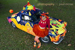 Shelley Buschur and Planet Karmann (Paul McRae (Delta Niner)) Tags: red portrait orange vw volkswagen costume boots wig artcar 175 acp shelleybuschur planetkarmann 201405220210