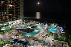North Beach Plantation view (mi_hulsman) Tags: blue moon green night sand balcony pools atlanticocean beachfront clearsky northmyrtlebeach northbeachplantation flickrandroidapp:filter=none