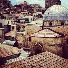 Jerusalem (hermez) Tags: old rooftop square israel asia jerusalem squareformat iphone amaro christianquarter iphoneography instagramapp uploaded:by=instagram