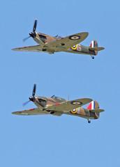 Hurricane & Spitfire (Hawkeye2011) Tags: uk aircraft aviation military hurricane spitfire raf hawker riat supermarine 2015 royalairforce raffairford