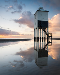 On Reflection (Stu Meech) Tags: sunset sea sky lighthouse reflection beach pool reflections landscape nikon stu pov low hard cc lee crop polarizer grad 54 tidal burnham burnhamonsea lightroom 1635 meech polariser d610 06nd
