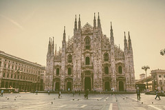 the cathedral in the center of Milan (pulp.gae8) Tags: old city travel italy milan art history tourism church monument saint statue skyline architecture facade square outside religious big italian europe european catholic view place cathedral outdoor milano famous religion gothic decoration culture style landmark center tourist medieval architectural historic christian dome piazza duomo ornate catholicism lombardia colossal touristattraction attraction romancatholic touristattractions touristic decorated monumental enormous lombardy touristdestination