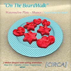 [CIRCA] On The BoardWalk - Watermelon Plate - Shapes (Giver) (LePetitFaire) Tags: food watermelon sl secondlife donuts boardwalk circa lpf lepetitfaire