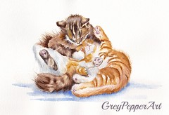 The Cuddly Kittens (GREY PEPPER ART) Tags: cats kittens tabby brothers sisters family cuddling playing watercolours art felines