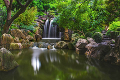 Chinese Garden, Sydney (satochappy) Tags: chinesegarden sydney darlingharbour garden chinesegardenoffriendship nd 10stop le waterfalls pond trees green rocks
