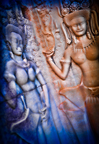 Celestial Maidens bas relief in Ankor Wat with enhanced colour