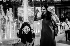 Burst of Excitement | Bangkok 2016 (Johnragai-Moment Catcher) Tags: people photography bangkokstreet blackwhite blackandwhite momentcatcher monocrome olympus omd omdem1 johnragai johnragaiphotos johnragaistreet johnragaibw street streetphotography gesture expression mood