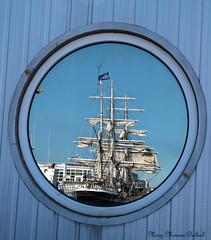 Le Belem - Reflets à Port Vendres (66) France (Mary-45) Tags: lebelem bateau boat navire ship portvendres pyrénéesorientales bateauàvoiles sailingboat france reflection hublot porthole reflet mer sea méditerranée themediterraneansea canon760d