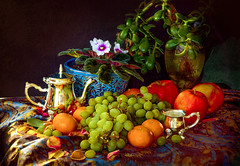 Earthwormist——still life.fruite (G.LAI) Tags: nature painting flower fruite still life crapse orange apple vast plant canon veliot earthworm earthwormist earthwormism stil red oil paint creative watercolor grapse rose dry art wine bottle yellow blue glass dryflower petals pink 蚯蚓派 静物 摄影 cheese ceramic embroidery napkin kitchen board wooden table top painted background imagination spectacular poetic creation artwork artistic arrangement composition bodego