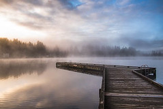 Quick Retreat (jeanmarie's photography) Tags: jeanmarieshelton jeanmarie cottagelake landscape light lake reflections fog mist clouds sky dock nikon nature nikond810 sunrise sunlight moody