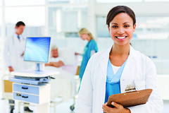 Healthcare (stevenrindner) Tags: woman man girl background people white women blue happy hand young girls female face hands men male confident beautiful work modern smile beauty smiling person lady holding portrait head medical doctor working looking care health standing adult worker guy human professional hospital blur nurse patient attractive treatment report clipboard stethoscope