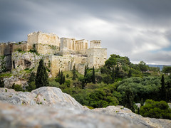 Acropolis From Philopappos Hill [Explored] (Tassos Giannouris) Tags: athens greece ancient landscape trees rocks areopagus hill acropolis clouds long world europe nature natur philopappos