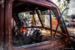 2017-03-14-panel-van-at-the-bike-show-IMG_0998 (Russ Thorne Art Photography) Tags: panel van chevy derelict rust rusty old 1950 1951 1953 1954 1955 1956 peace sign smoke