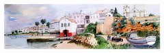 Ferragudo - Algarve - Portugal (guymoll) Tags: ferragudo algarve portugal croquis sketch aquarelle watercolour watercolor harbour port bateaux ships boats igreja church église falaise clif panoramic panoramique