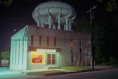 (patrickjoust) Tags: catonsville baltimorecounty baltimore maryland watertower musicstore fujicagw690 kodakportra160 6x9 medium format c41 color negative film 90mm f35 fujinon lens cable release tripod long exposure night after dark manual focus analog mechanical patrick joust patrickjoust usa us united states north america estados unidos