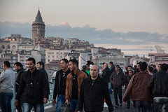 boys on the bridge (grapfapan) Tags: street bridge people urban men istanbul trkei galata galatabrcke