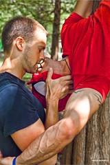 Kiss of the Spider-Man (Philip Bonneau) Tags: gay tree men love tattoo kiss couple arms upsidedown spiderman superhero passion hanging acrobat marvel ssm scruff pretend treeclimbing marriageequality heroesvillains philipbonneau